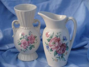 vintage Royal Copley shabby roses china, ivory ewer pitcher and urn vase