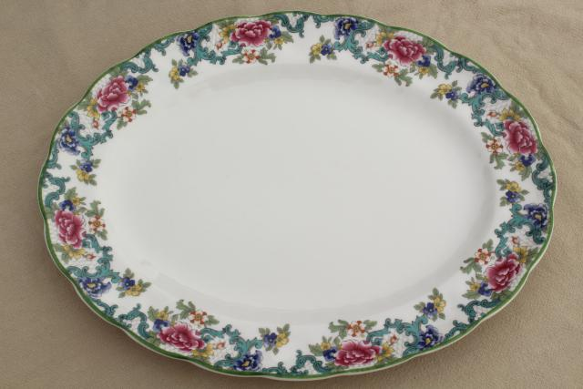 vintage Royal Doulton Floradora green trim china platter, made in England