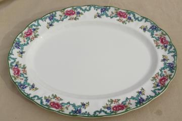 vintage Royal Doulton Floradora green trim china turkey platter, made in England