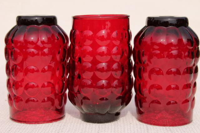 vintage Royal Ruby red bubble pattern Anchor Hocking juice glasses tumblers