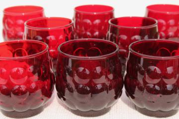 vintage Royal Ruby red bubble pattern Anchor Hocking old fashioned lowball glasses