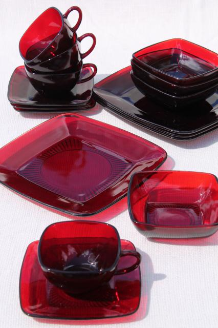 Vintage Royal Ruby Red Glass Dishes Anchor Hocking Charm