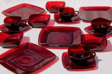 vintage Royal Ruby red glass dishes, Anchor Hocking Charm square plates, cups, bowls set for 4