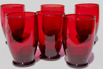 vintage Royal Ruby red glass tumblers, 1950s Anchor Hocking drinking glasses set
