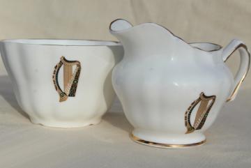 vintage Royal Tara Galway Ireland fine bone china cream & sugar set, Irish harp pattern