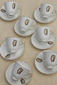 vintage Royal Tara Galway Ireland fine bone china cups & saucers Irish harp pattern