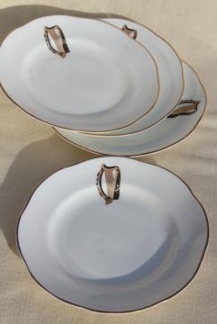 vintage Royal Tara Galway Ireland fine bone china plates, Irish harp pattern