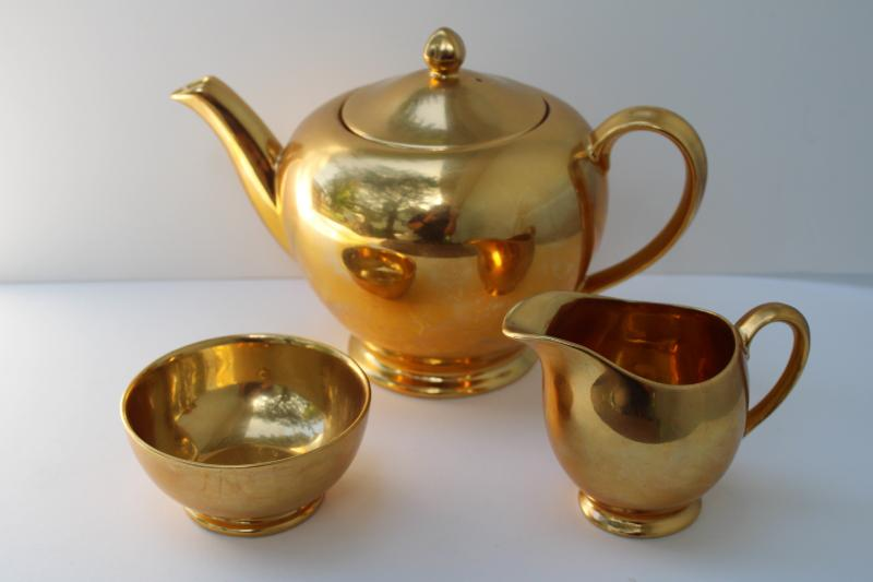 vintage Royal Winton Golden Age encrusted gold teapot, cream pitcher, sugar bowl set