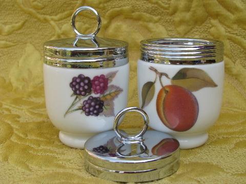 vintage Royal Worcester china egg coddlers lot, Evesham orchard fruit