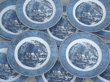 vintage Royal china Currier & Ives blue and white dinner plates
