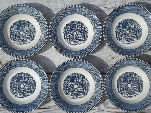 vintage Royal china blue & white Currier & Ives pattern fruit bowls set