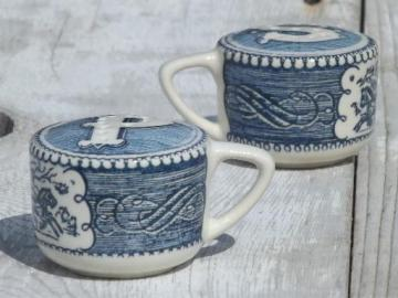 vintage Royal china blue & white Currier & Ives salt & pepper shakers