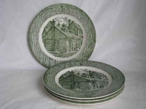 vintage Royal china green transferware dinner plates The Old Curiosity Shop & vintage Royal china green transferware dinner plates The Old ...