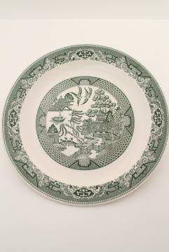 vintage Royal china green willow round platter or cake plate, blue willow in green!