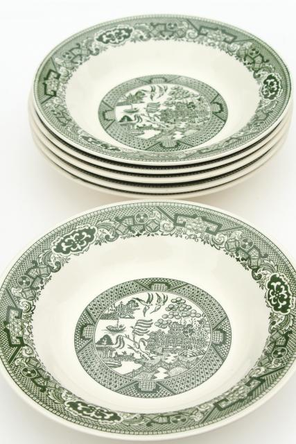 sc 1 st  Laurel Leaf Farm & vintage Royal china green willow soup bowls blue willow in green!