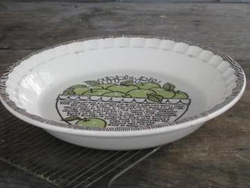 vintage Royal china pie plate, apple pie recipe pie pan