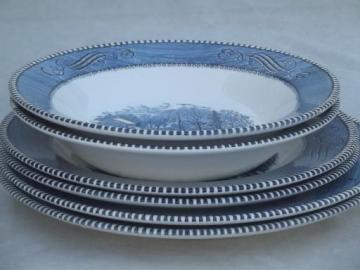 vintage Royal ironstone Currier & Ives blue and white plates and soup bowls
