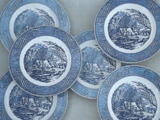 vintage Royal ironstone china Currier u0026 Ives blue and white dinner plates & vintage Royal ironstone china Currier u0026 Ives blue and white dinner ...