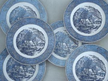 vintage Royal ironstone china Currier & Ives blue and white dinner plates