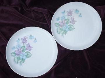 vintage Royalon melmac, lavender purple violets print dinner plates
