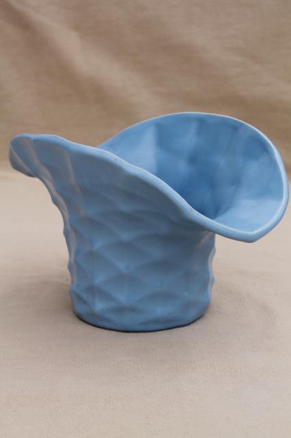 Vintage Rumrill Red Wing Pottery Vase Matte Blue Glaze Basket
