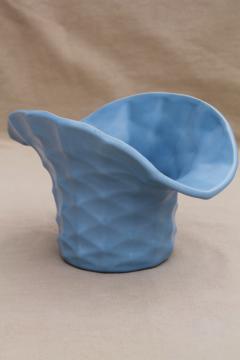 vintage Rumrill Red Wing pottery vase, matte blue glaze, basket shape bucket for flowers