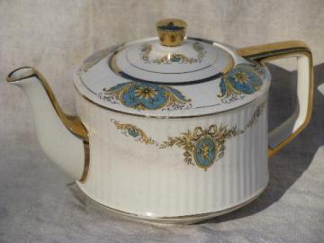 vintage Sadler - England tea pot, french blue cameo cherubs on ivory