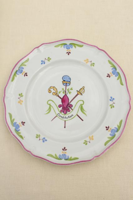vintage Saint Amand French faience pottery plates, hand painted coat of arms