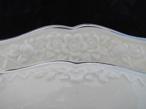 vintage Salem Briar Rose china, embossed floral, ivory w/ platinum