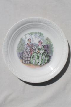 vintage Salem Godey prints china plate, Godey's ladies book pattern illustration