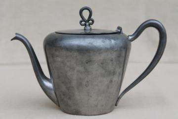 vintage Salem pewter teapot, antique colonial reproduction tea pot w/ nice old patina