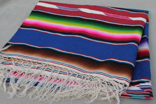 vintage Saltillo Mexican Indian blanket serape rug w/ bright colored stripes