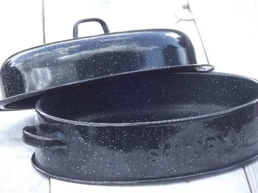 Vintage Savory Jr Junior Roasting Pan Graniteware Enamel