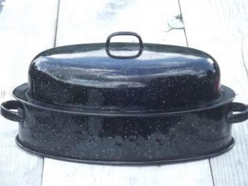 vintage Savory Jr junior roasting pan, graniteware enamel chicken roaster