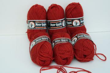 vintage Scandinavian pure wool yarn, 6 skeins Christmas red for knitting, crochet or crafts