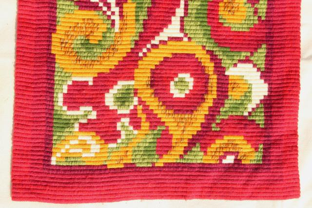 vintage Scandinavian tapestry wool embroidery, gobelin needlepoint bell pulls