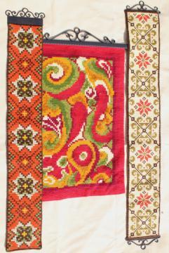 vintage Scandinavian tapestry wool embroidery, gobelin needlepoint bell pulls