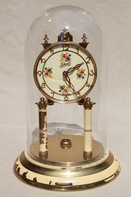 Vintage Schatz Germany Brass Clock Amp Glass Dome