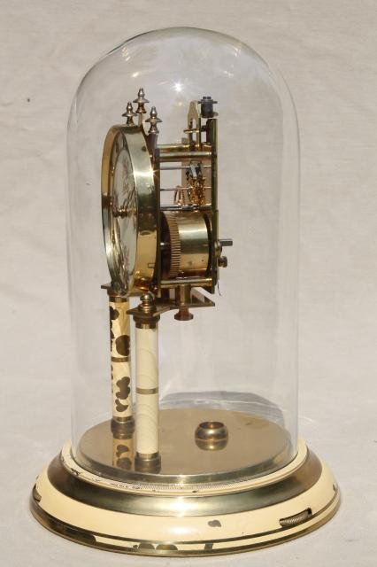 Vintage Schatz Germany Brass Clock Amp Glass Dome