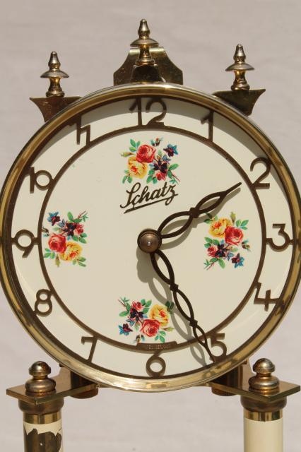 vintage Schatz - Germany brass clock & glass dome ...