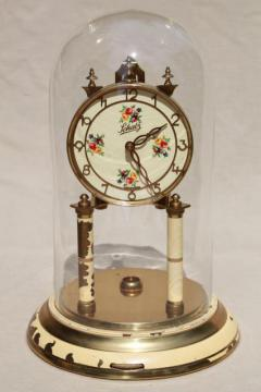 vintage Schatz - Germany brass clock & glass dome, replacement parts or restoration clock