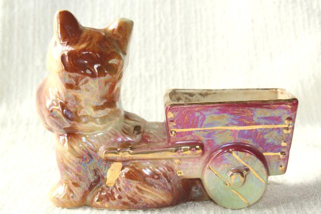 vintage Scotty dog ceramic planter, USA pottery Scottish terrier puppy