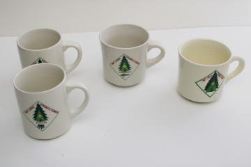 vintage Scout camp mugs, restaurant china Boy Scouts Bay Lakes Wisconsin BSA