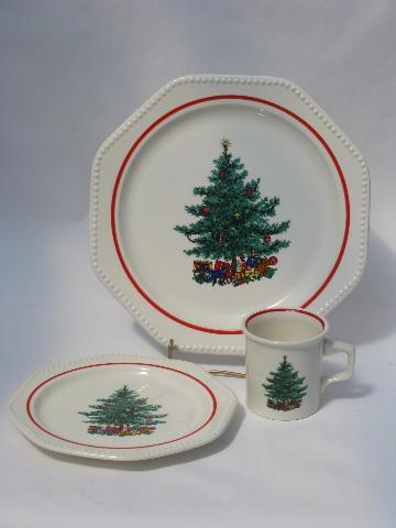 vintage Sears Octagon white Holiday dishes, Christmas tree ...