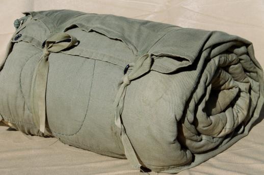 Vintage Sears Army Green Drab Cotton Sleeping Bag For Camping Backng Hunters