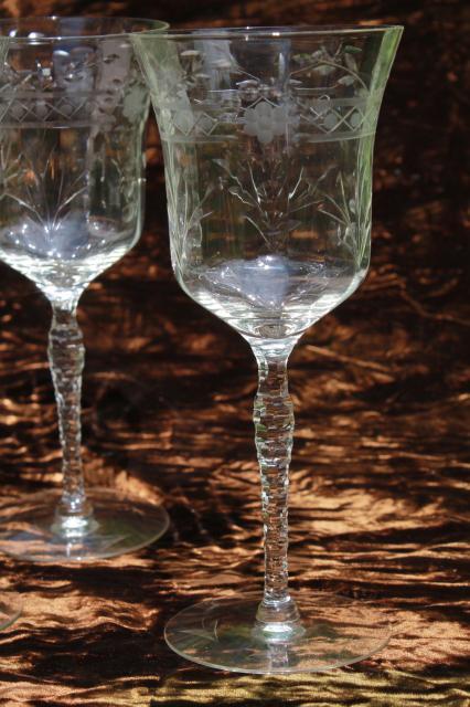 Vintage Seneca Glass 180 Or 190 Cut Stem Wine Glasses W