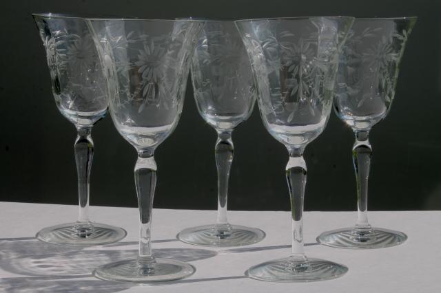 vintage Seneca glass wine glasses or water goblets, etched