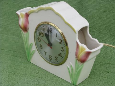 vintage Sessions kitchen shelf clock, pink tulip pocket vases china case