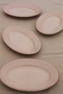 vintage Shenango China adobe brown ironstone, oval steak dinner plates, surf & turf platters