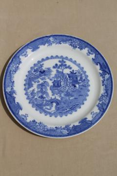 vintage Shenango blue willow restaurant ware, large round ironstone china plate / platter